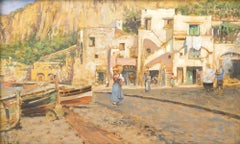Houses on Shores in Capri - Oil on Board by V. Caprile - Early 20th Century