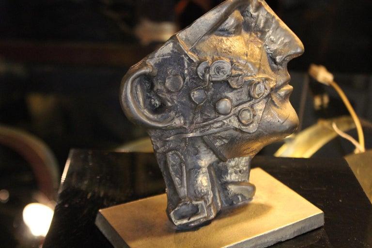 Vincenzo Eulissi 1970 gilded bronze modern sculpture in lost wax.