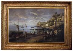NAPLES - Italian landscape oil on canvas painting, Vincenzo Montella