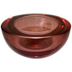 Vincenzo Nason Mid-Century Modern Cranberry Pink Murano Round Art Glass Bowl