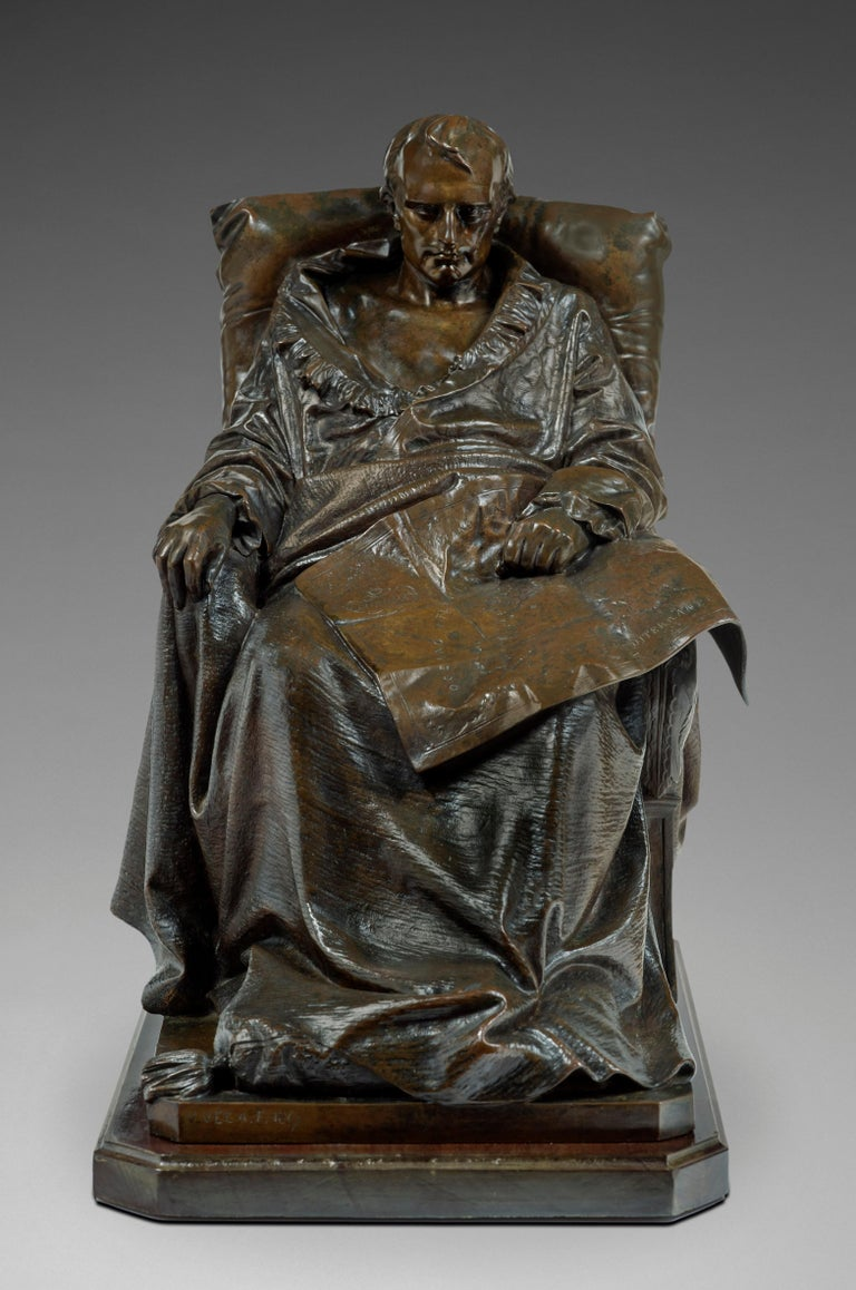 Vincenzo Vela Figurative Sculpture - Last Days of Napoleon in St-Helena