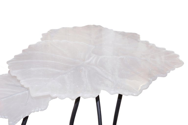 French Vine Leaves Set of 2 Table in Crystal For Sale