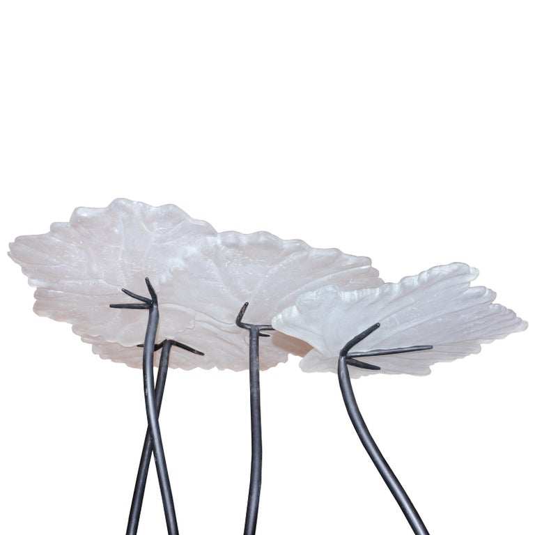 Vine Leaves Set of 2 Table in Crystal For Sale 1