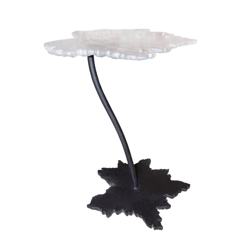 Vine Leaves Set of 2 Table in Crystal For Sale 2