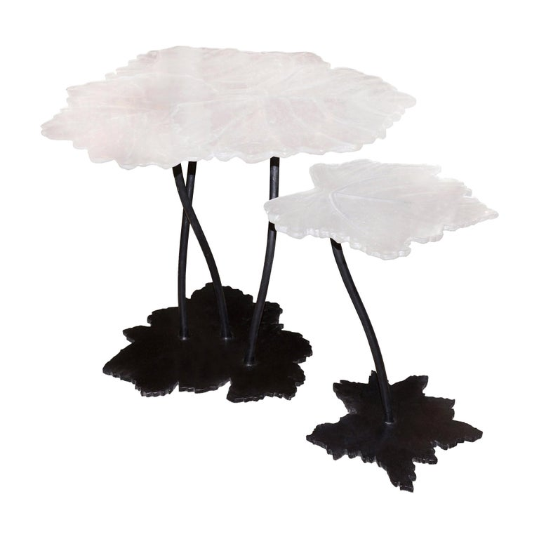 Vine Leaves Set of 2 Table in Crystal For Sale