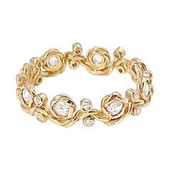 Vineyard 18 Karat Gold Rose Cut Diamond Eternity Wavy Band