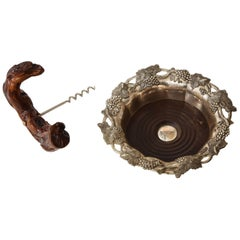 Vineyard Trimmed Wine Coaster, Corkscrew