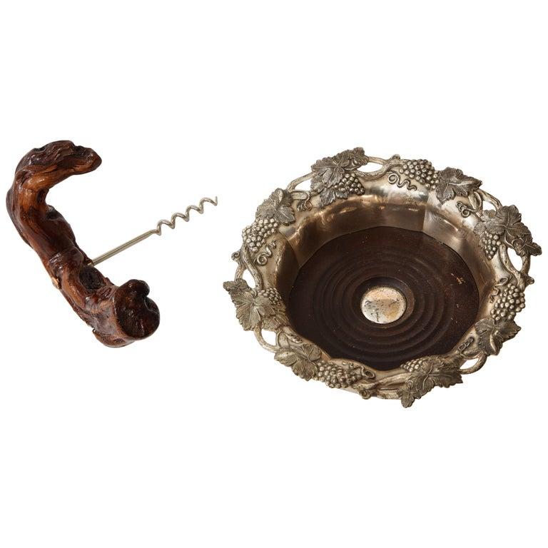 Vineyard Trimmed Wine Coaster, Corkscrew For Sale
