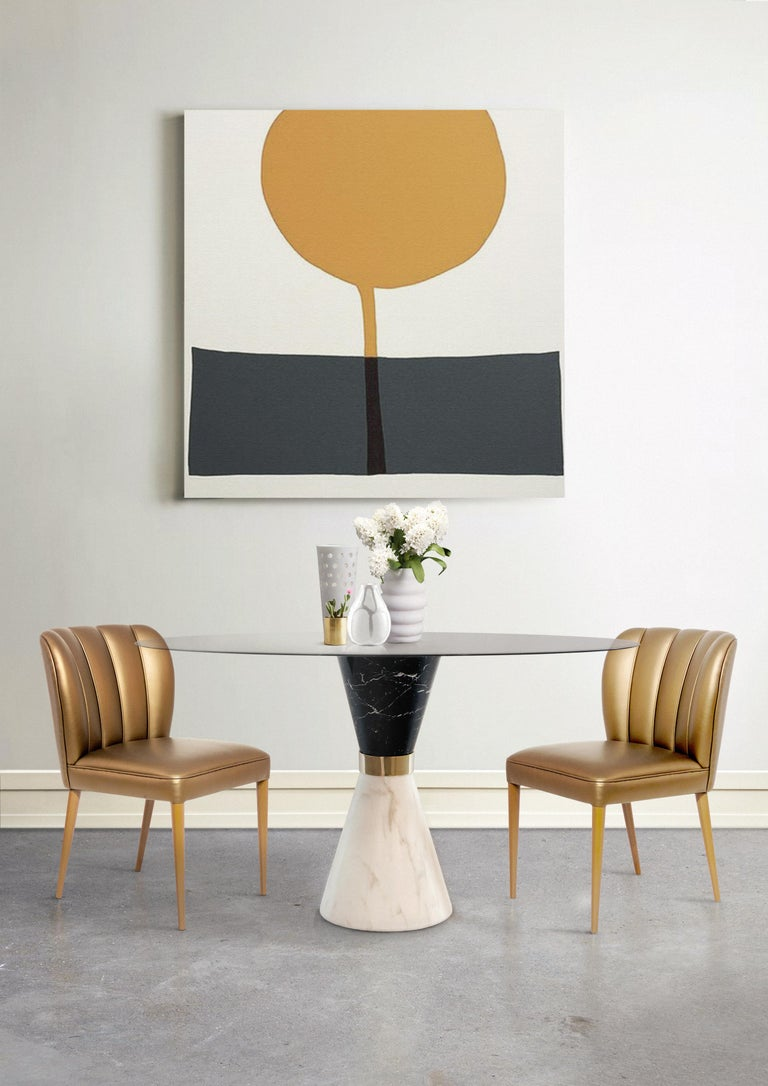 Vinicius Dining Table in White/Portoro Marble and Black Glass In Excellent Condition For Sale In New York, NY