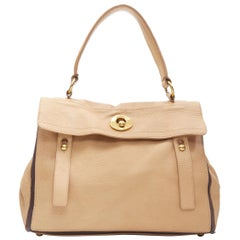 vintaga YVES SAINT LAURENT Muse Two beige leather top flap shoulder satchel bag