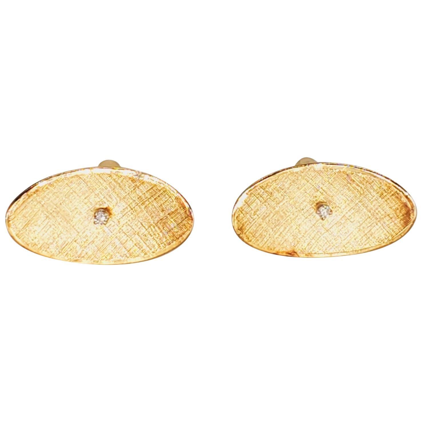 Vintage 0.10 Carat Diamonds Oval Cufflinks 14 Karat Gold
