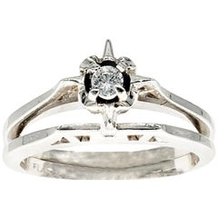Vintage 0.20 Carat Diamond Double Engagement Ring 14 Karat White Gold