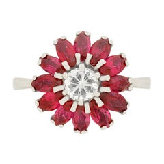 Vintage 0.40 Carat Diamond and Ruby Cocktail Ring, circa 1950s