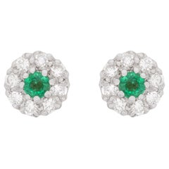 Vintage 0.40 Carat Emerald and Diamond Cluster Earrings, circa 1960s