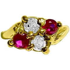 Vintage 0.40 Carat Ruby Diamond Cocktail Ring in 14 Karat Yellow Gold