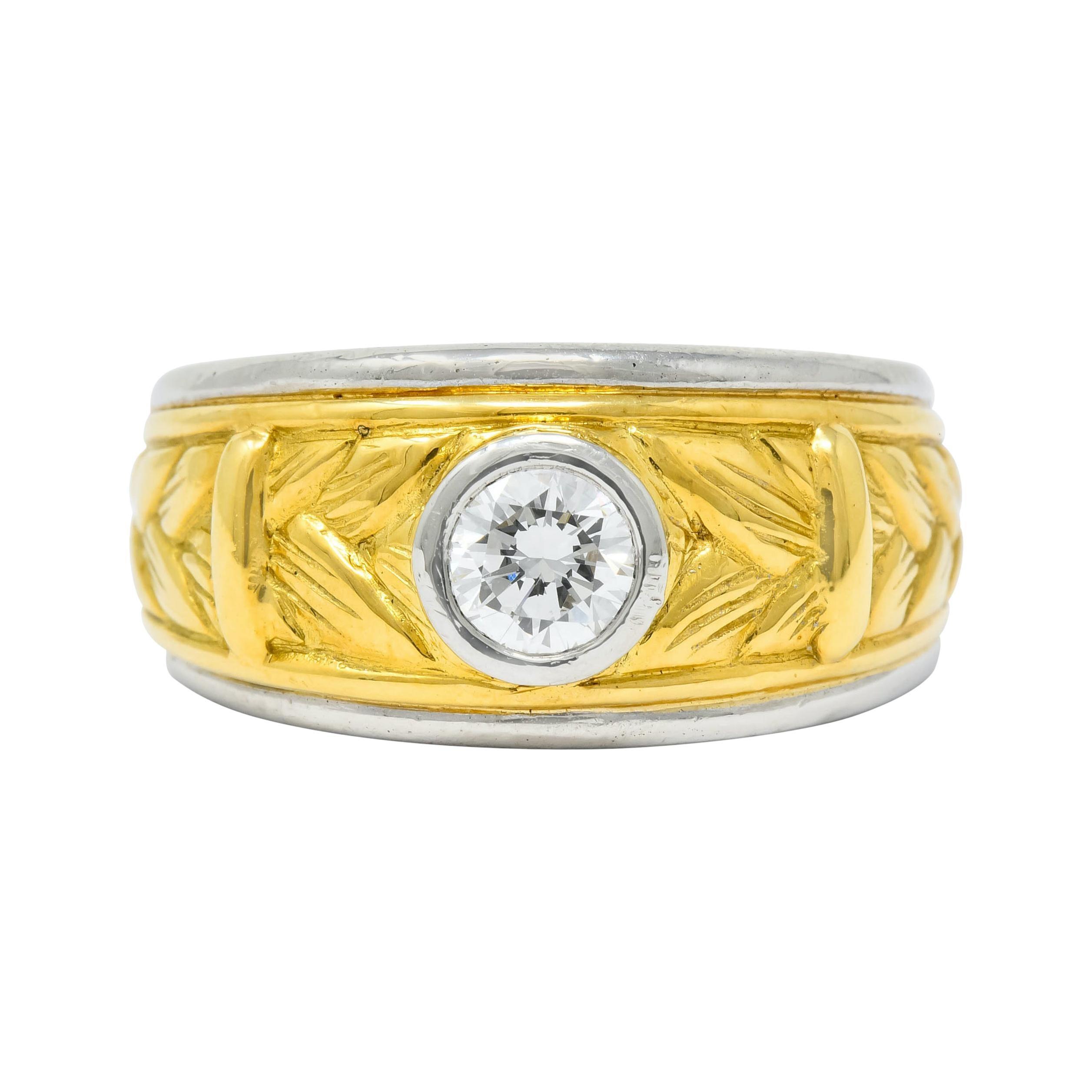 Vintage 0.47 Carat Diamond Platinum 18 Karat Gold Band Ring