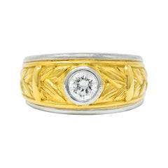 Vintage 0.47 Carat Diamond Platinum 18 Karat Gold Band Ring