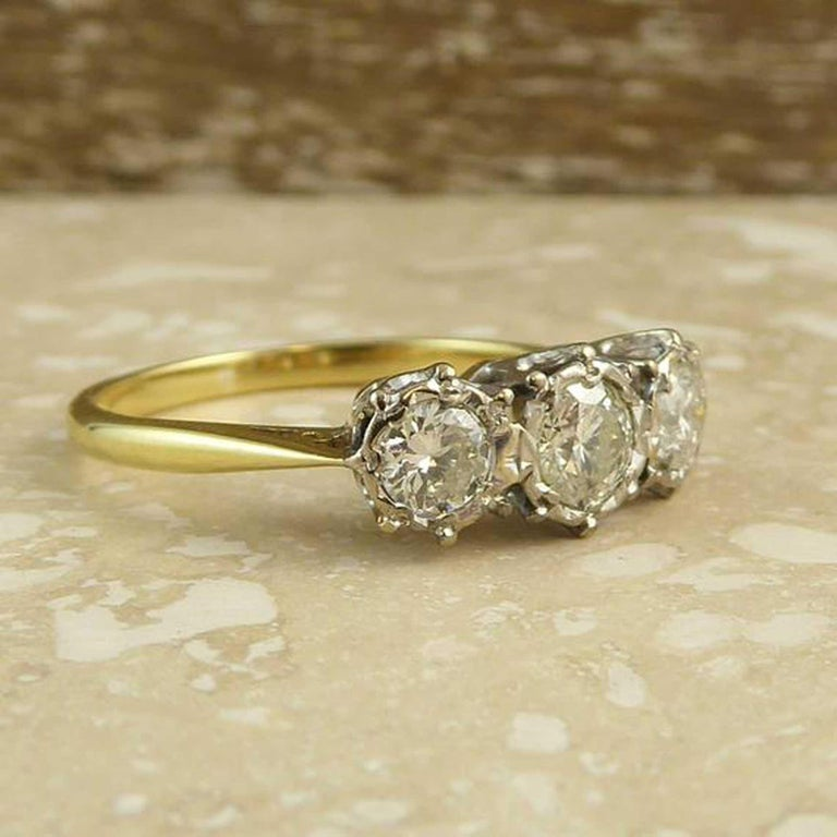 Engagement Ring Memorial Day Sale: Vintage 0.50 Carat Diamond Engagement Ring, Three-Stone