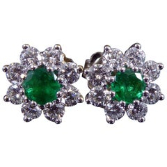 Vintage 0.50 Carat Emerald and 1.12 Carat Diamond Cluster Earrings, White Gold