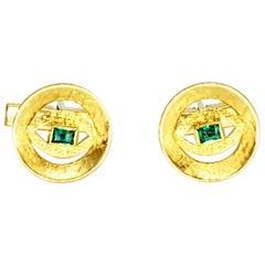 Vintage 0.50 Carat Emerald Cufflinks 18 Karat Gold