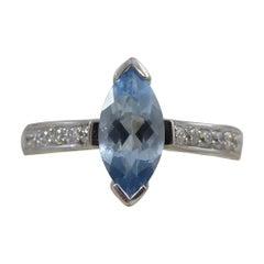 Vintage 0.55 Carat Marquise Aquamarine Solitaire Ring Diamond Shoulders