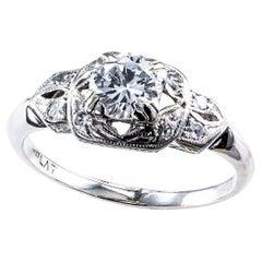 Vintage 0.57 Carat Diamond Platinum Engagement Ring