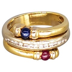 Vintage 0.60 Carat Diamonds and Sapphire Ruby Cabochon Ring 18 Karat 750