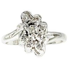 Vintage 0.65 Carat Diamonds Cluster Ring 14 Karat White Gold