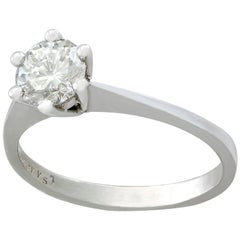 Vintage 0.65 Carat Diamond and White Gold Solitaire Ring, circa 1970