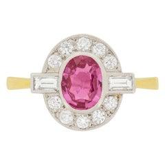Vintage 0.75 Carat Pink Sapphire and Diamond Ring, circa 1950s