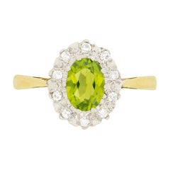 Vintage 0.80 Carat Peridot and Diamond Ring, circa 1960s
