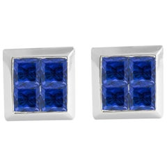 Vintage 0.80 Carat Princess Cut Blue Sapphire Stud Earrings in 14 Karat Gold