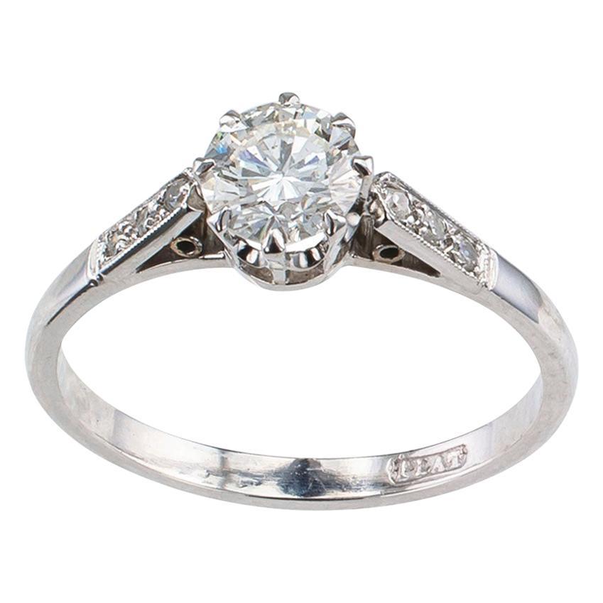 Vintage 0.85 Carat Diamond Solitaire Platinum Engagement Ring