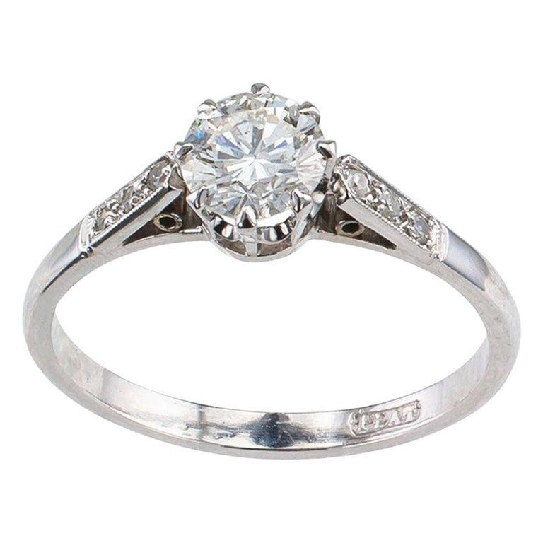 Vintage 0.85 Carat Diamond Solitaire Platinum Engagement Ring For Sale