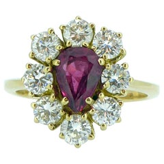 Vintage 0.93 Carat Pear Shaped Ruby and 1.12 Carat Diamond Cluster Ring