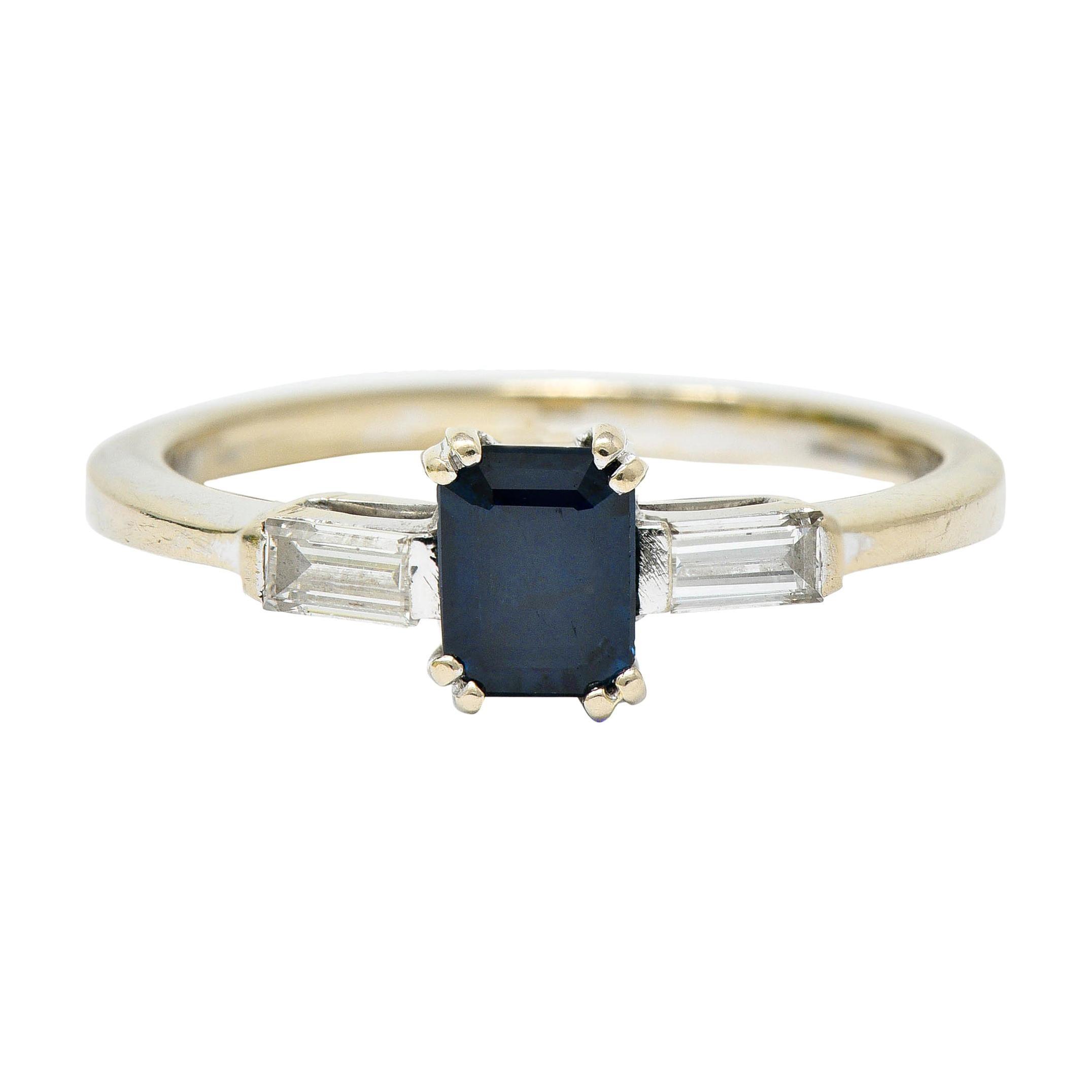 Vintage 0.95 Carat Sapphire Diamond 18 Karat White Gold Three Stone Ring