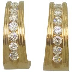 Vintage 1 Carat Diamond Half Hoop Earrings in 14 Karat Yellow Gold
