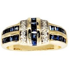 Vintage 1 Carat White Diamonds and Blue Sapphires 14 Karat Gold Ring