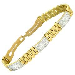 Vintage 10 Carat Diamonds Rolex Style President Link Bracelet 18k