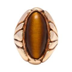 Vintage 10 Karat Gold Tiger's Eye Ring