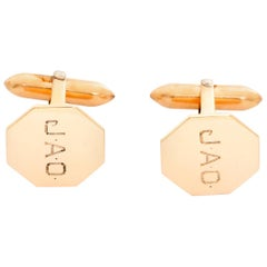 Vintage 10 Karat Rose Gold Geometric Cufflinks