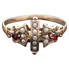 Vintage 10 Karat Rose Gold Ruby and Pearl Ring Etruscan Style