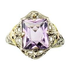 Vintage 10 Karat White, Rose and Yellow Gold Amethyst Ring