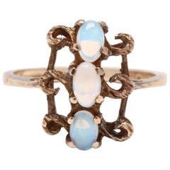 Vintage 10 Karat Yellow Gold and Opal Statement Ring