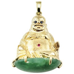 Vintage 10 Karat Yellow Gold Buddha and Jadeite Pendant