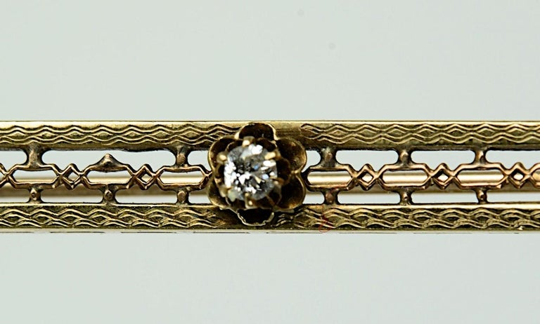 Women's Vintage 10 Karat Yellow Gold, Diamond and Seed Pearl Bar Pin or Brooch For Sale