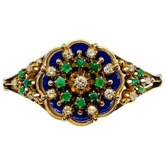 Vintage 10 Karat Yellow Gold, Enamel, Diamond and Emerald Bangle Bracelet