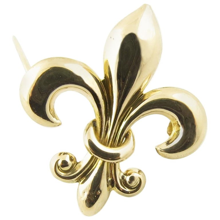 d57b927604f32 Vintage 10 Karat Yellow Gold Fleur De Lis Brooch / Pin #4369