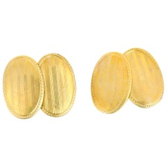Vintage 10 Karat Yellow Gold Oval Cufflinks