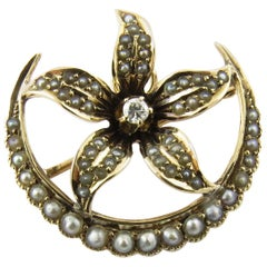 Vintage 10 Karat Yellow Gold Seed Pearl and Diamond Brooch / Pin #4367